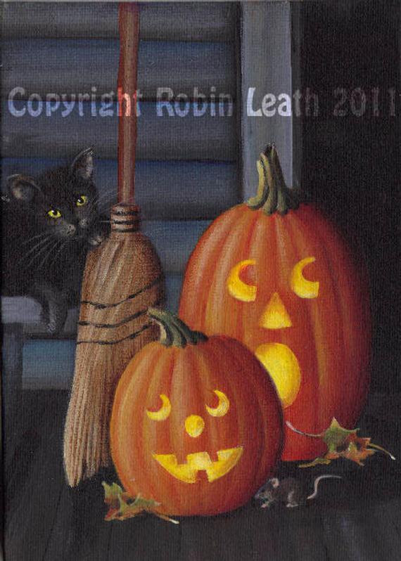 Halloween Porch Greeters  Halloween Porch Greeters 5 X 7 Original Acrylic Painting
