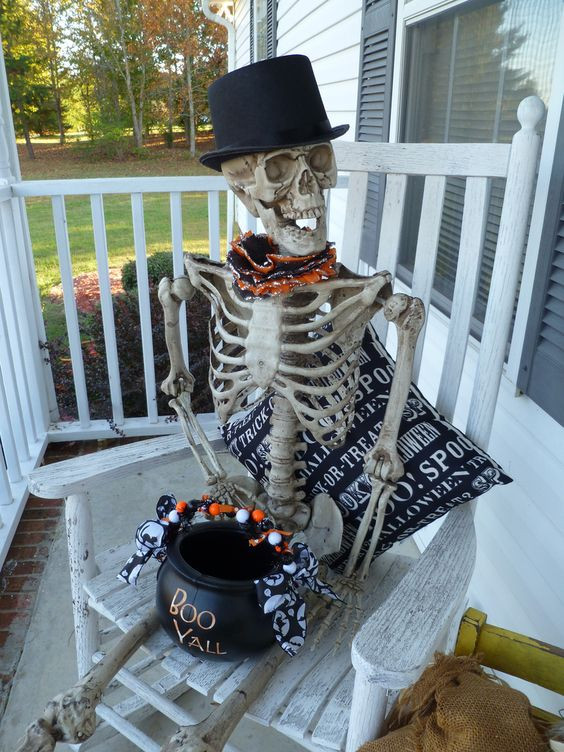 Halloween Porch Greeters  skeleton greeter Halloween Pinterest