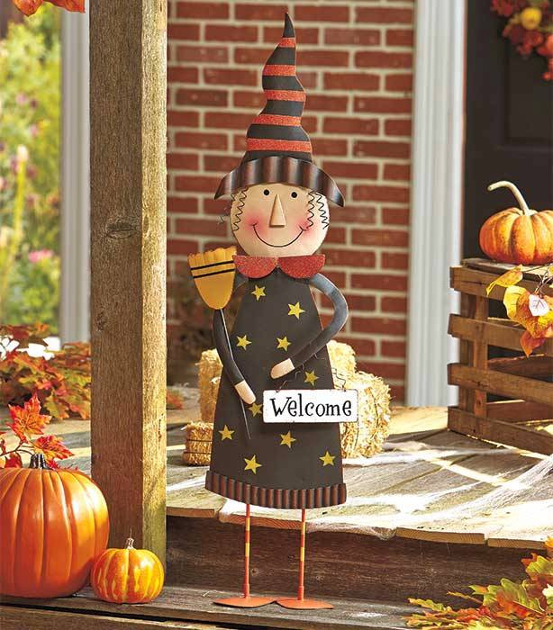 Halloween Porch Greeters  3 Ft Tall Metal Halloween Porch Greeters Out