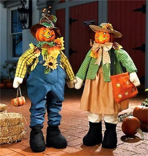 Halloween Porch Greeters  Set of 2 Country Autumn Lighted Scarecrow Porch Greeters