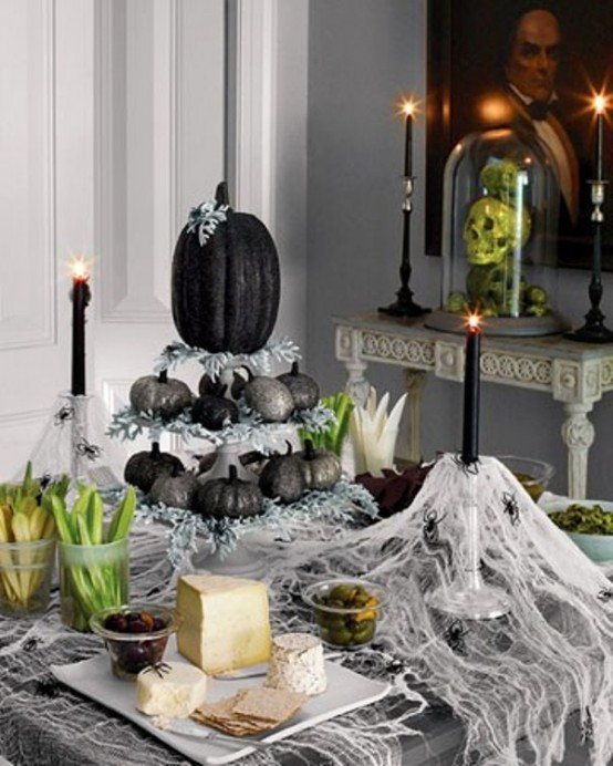 Halloween Table Settings  70 Ideas For Elegant Black And White Halloween Decor
