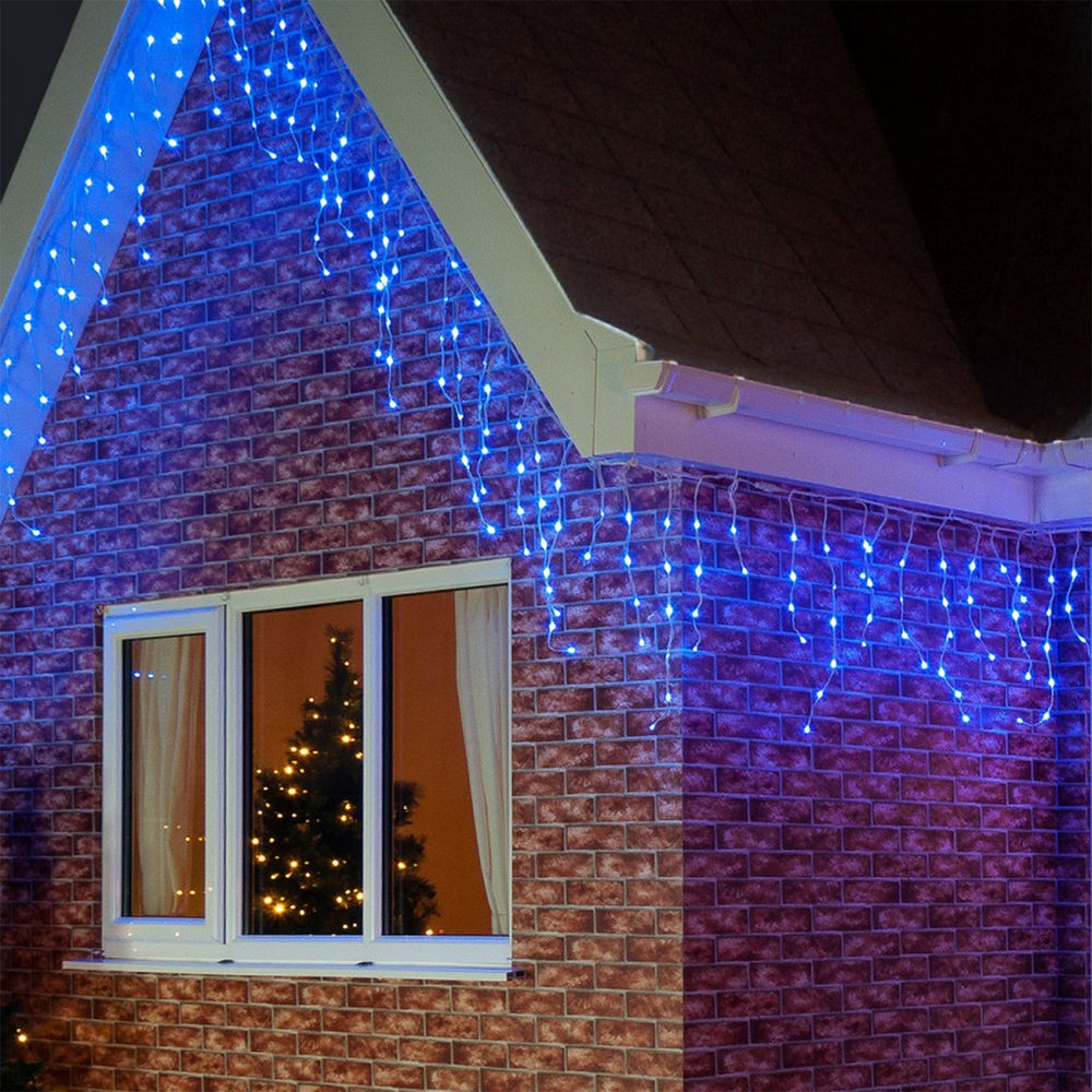 Indoor Outdoor Christmas Light  144 Light Christmas Party BLUE Icicle Indoor Outdoor LED