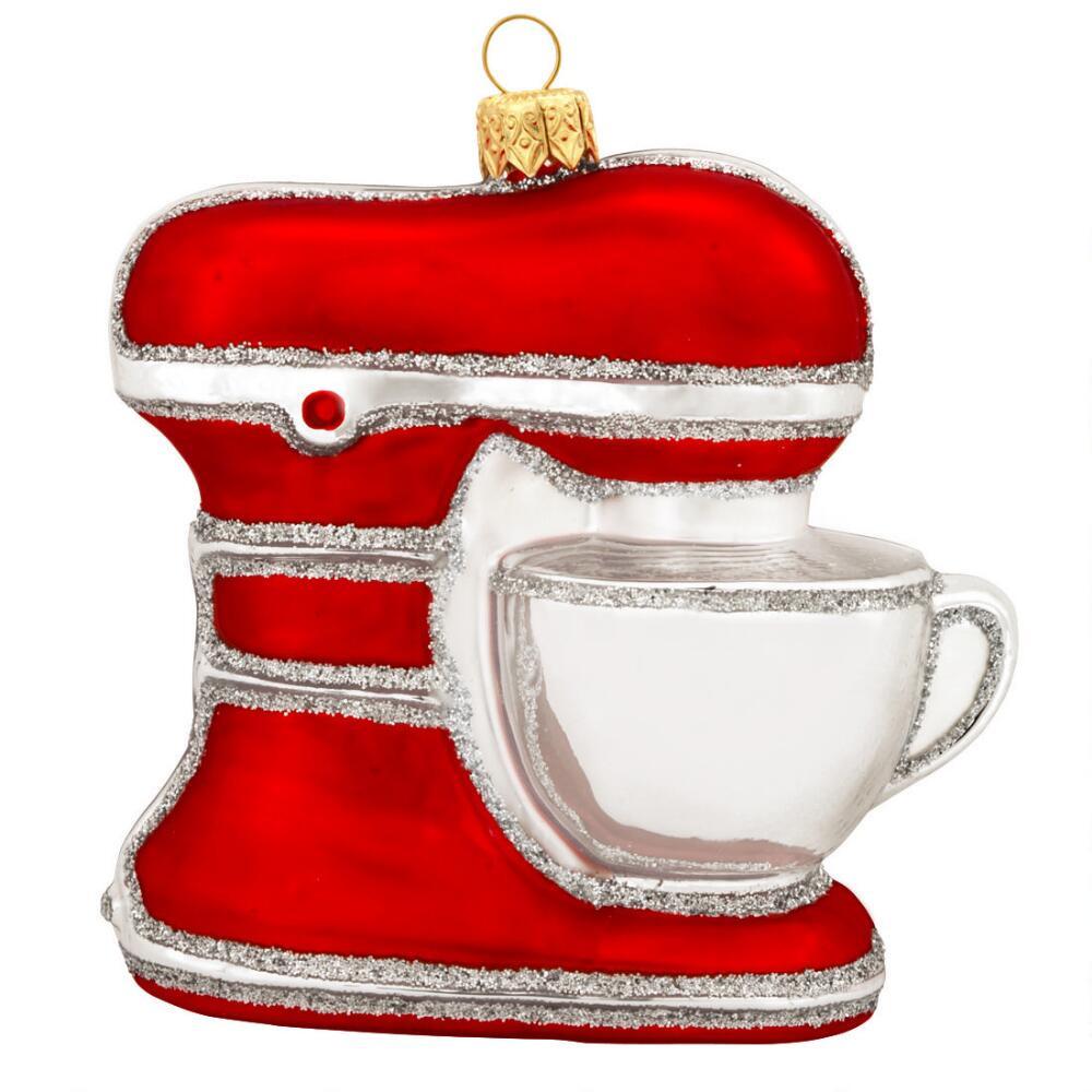 Kitchen Christmas Ornament  Kitchen Mixer Red Glass