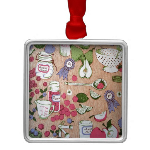 Kitchen Christmas Ornament  Country Kitchen Square Metal Christmas Ornament