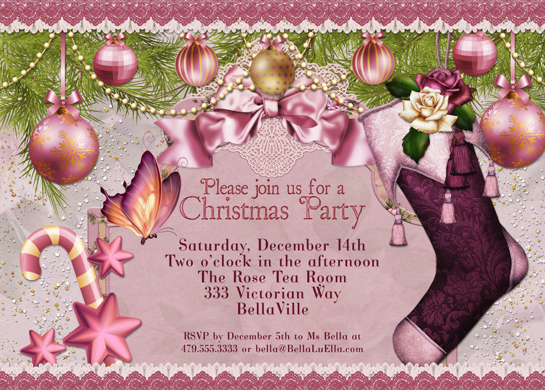 Ladies Christmas Party Ideas  Christmas Party Invitation Victorian Christmas Card La s