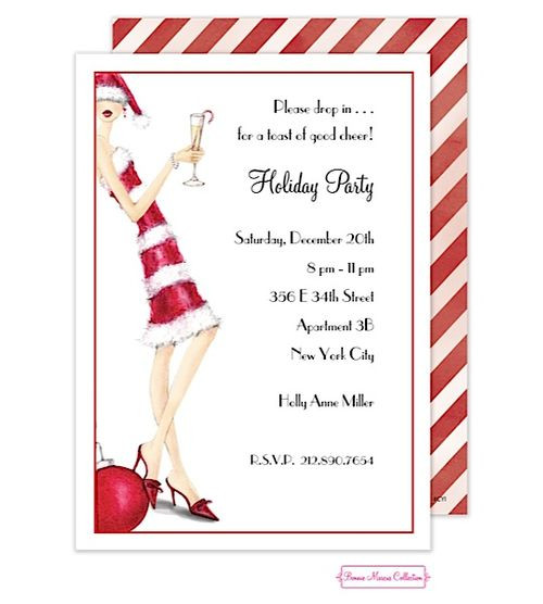 Ladies Christmas Party Ideas  Christmas Holiday La s Party Invitations candy cane