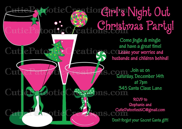 Ladies Christmas Party Ideas  Girls Night Out Christmas Party Invitation Printable or