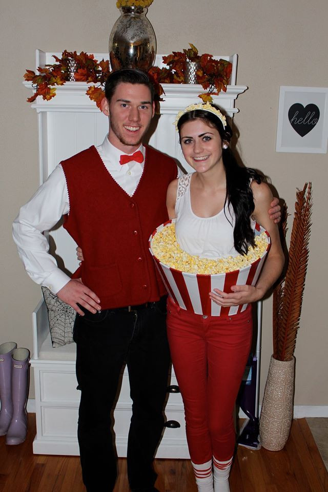 Lamp Shade Halloween Costume  DIY couples Halloween costume Bucket of popcorn and