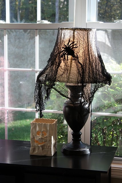 Lamp Shade Halloween Costume  Halloween Lamp Idea Black netting Fishnet Stocking cut