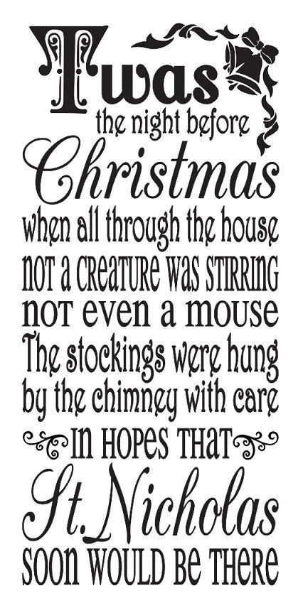 Night Before Christmas Quotes  Primitive Christmas Holiday STENCIL Twas the night