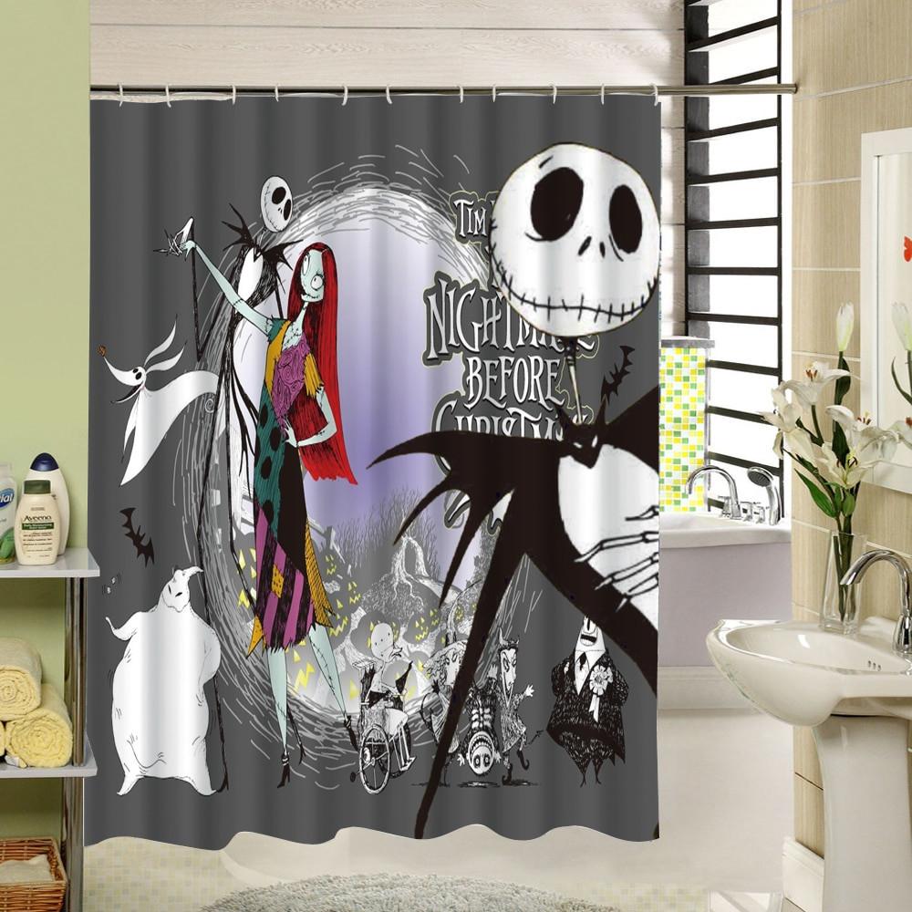 Nightmare Before Christmas Bathroom  Waterproof 3D Halloween Shower Curtain Nightmare Before
