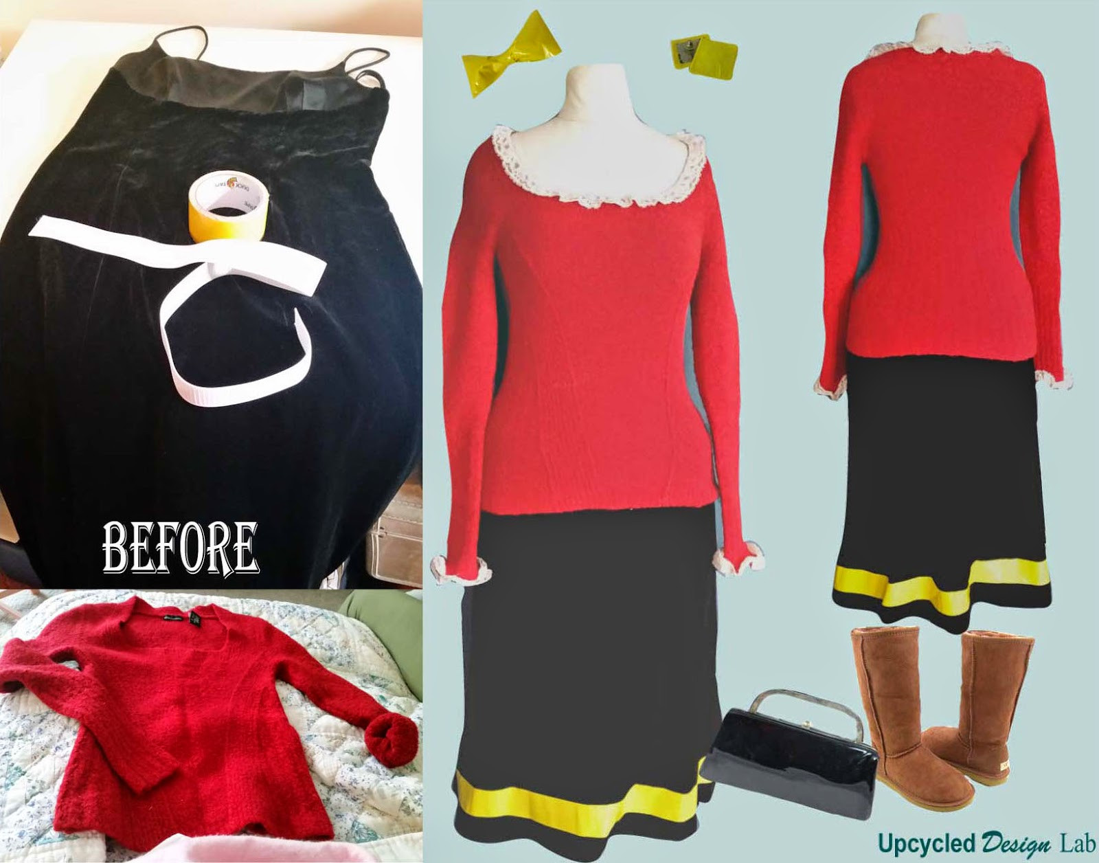 Olive Oyl Costume DIY  Refashion Co op Easy Last Minute Upcycled Olive Oyl