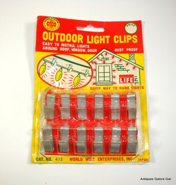 Outdoor Christmas Light Clips  Vintage Outdoor Light Clips Metal Rustproof New Old Stock
