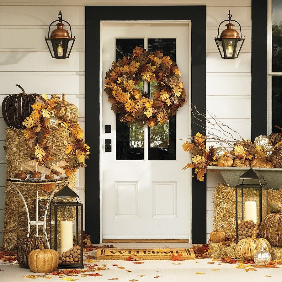 Outdoor Fall Decorations  A Bit of Bees Knees Fall Decor From Pottery Barn