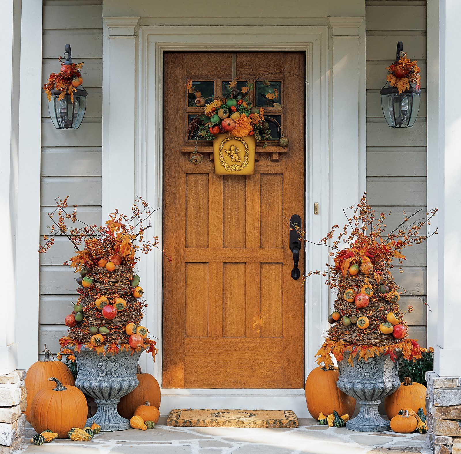 Outdoor Fall Decorations  Front Door Fall Beauty