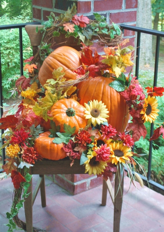 Outdoor Fall Decorations  shelley b decor and more Fall Porch Decorating