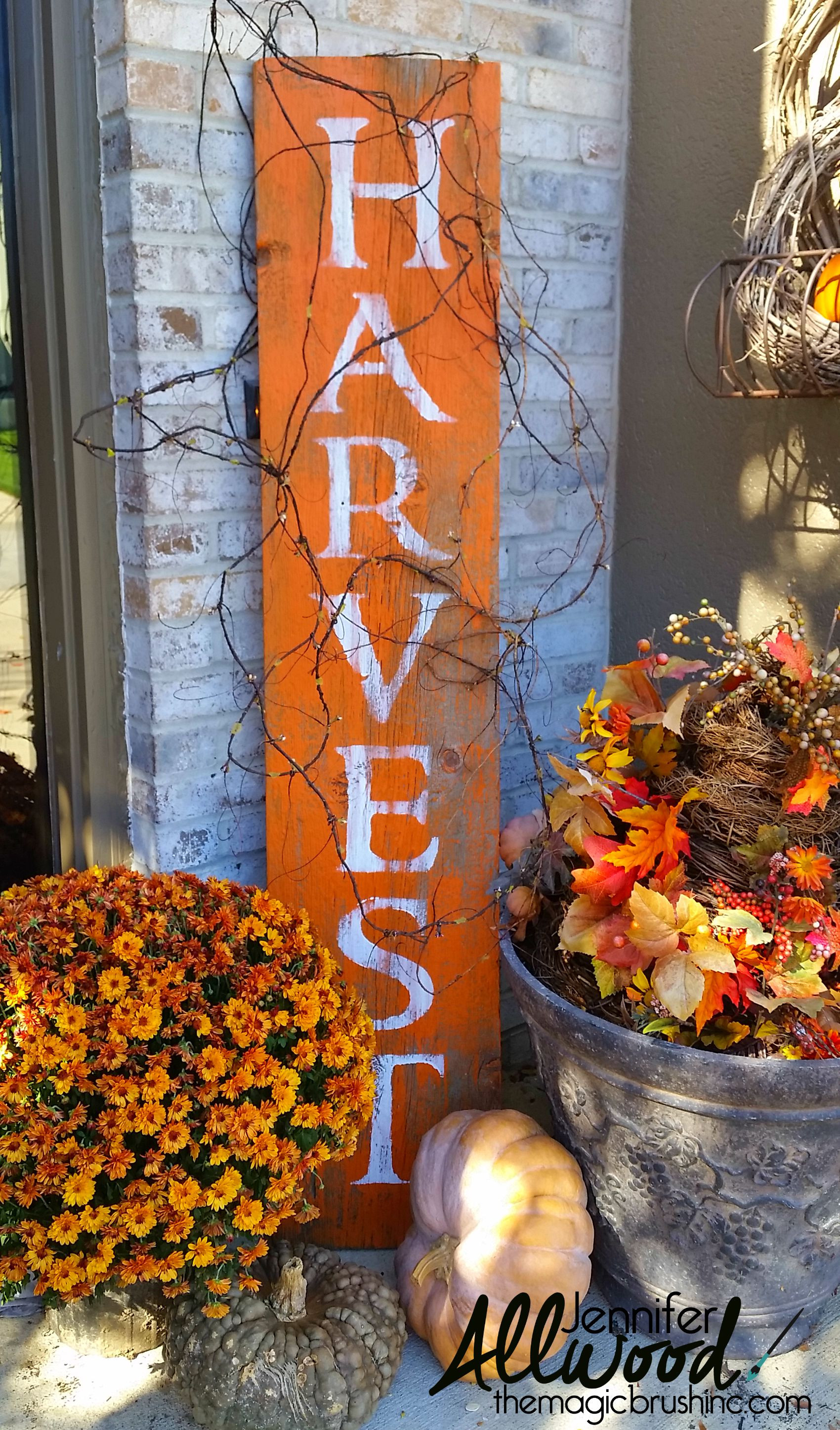 Outdoor Fall Decorations  Harvest Sign on Barnwood for Fall Front Porch Decor