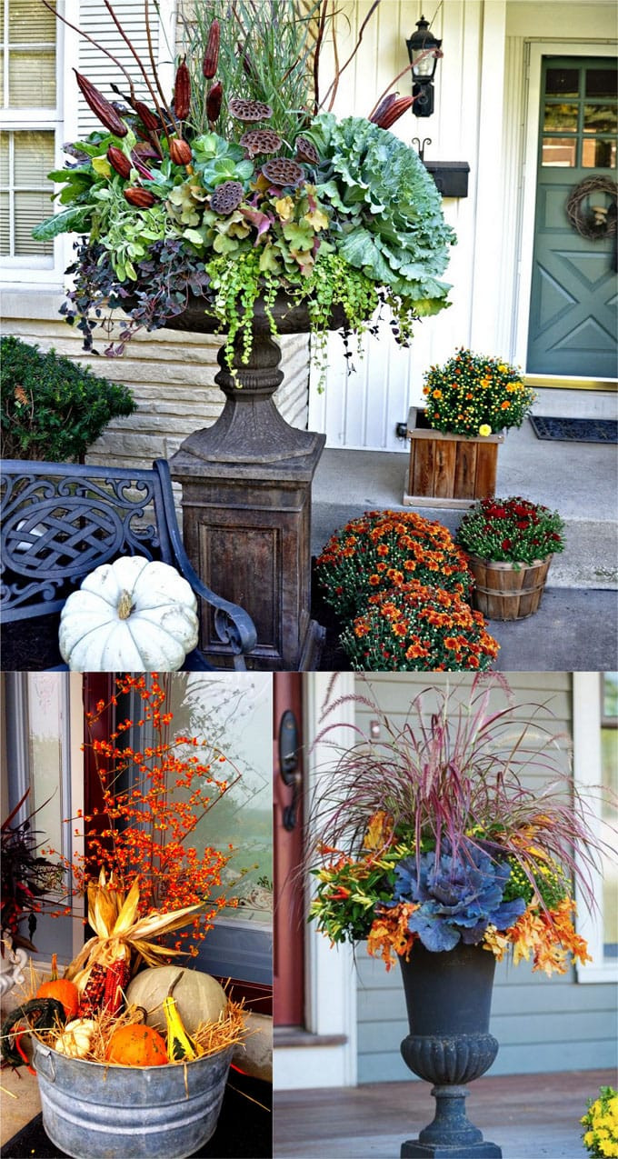Outdoor Fall Decorations  22 Beautiful Fall Planters for Easy Outdoor Fall