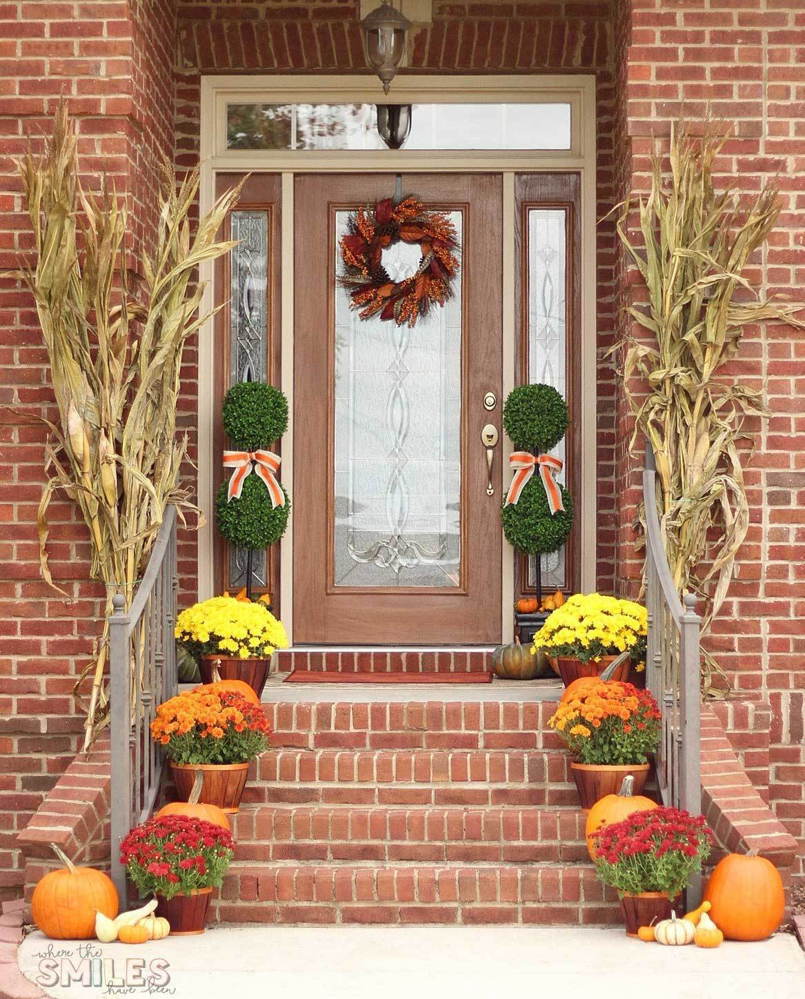 Outdoor Fall Decorations  Fall Front Porch Decor Our Happy Harvest at Home
