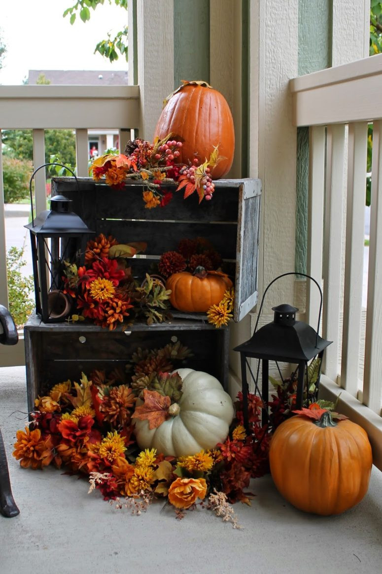 Outdoor Fall Decorations  120 Fall Porch Decorating Ideas Shelterness