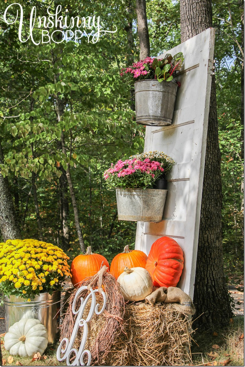 Outdoor Fall Decorations  Fall Porch Decor with Plants and Pumpkins Unskinny Boppy