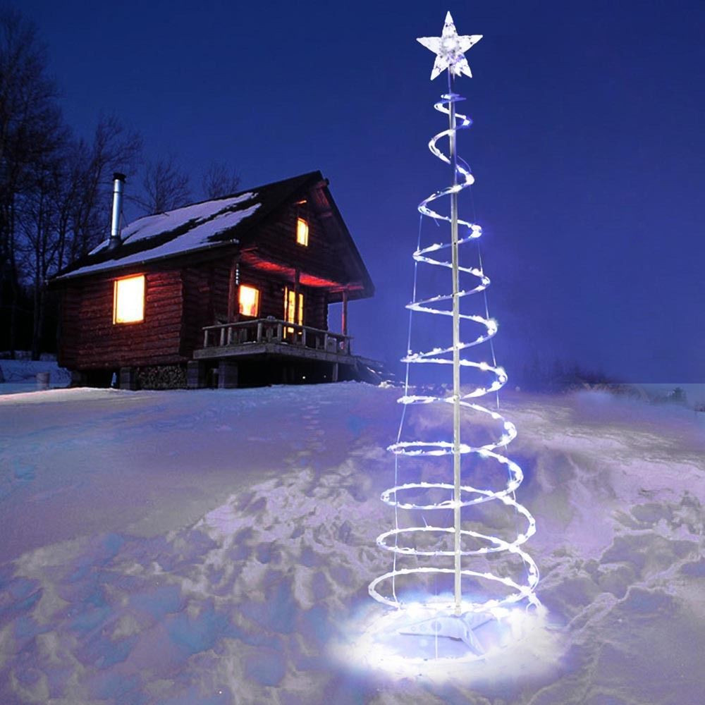 Outdoor Light Up Christmas Tree  5 Spiral Tree LED Christmas Light Cool White In Outdoor