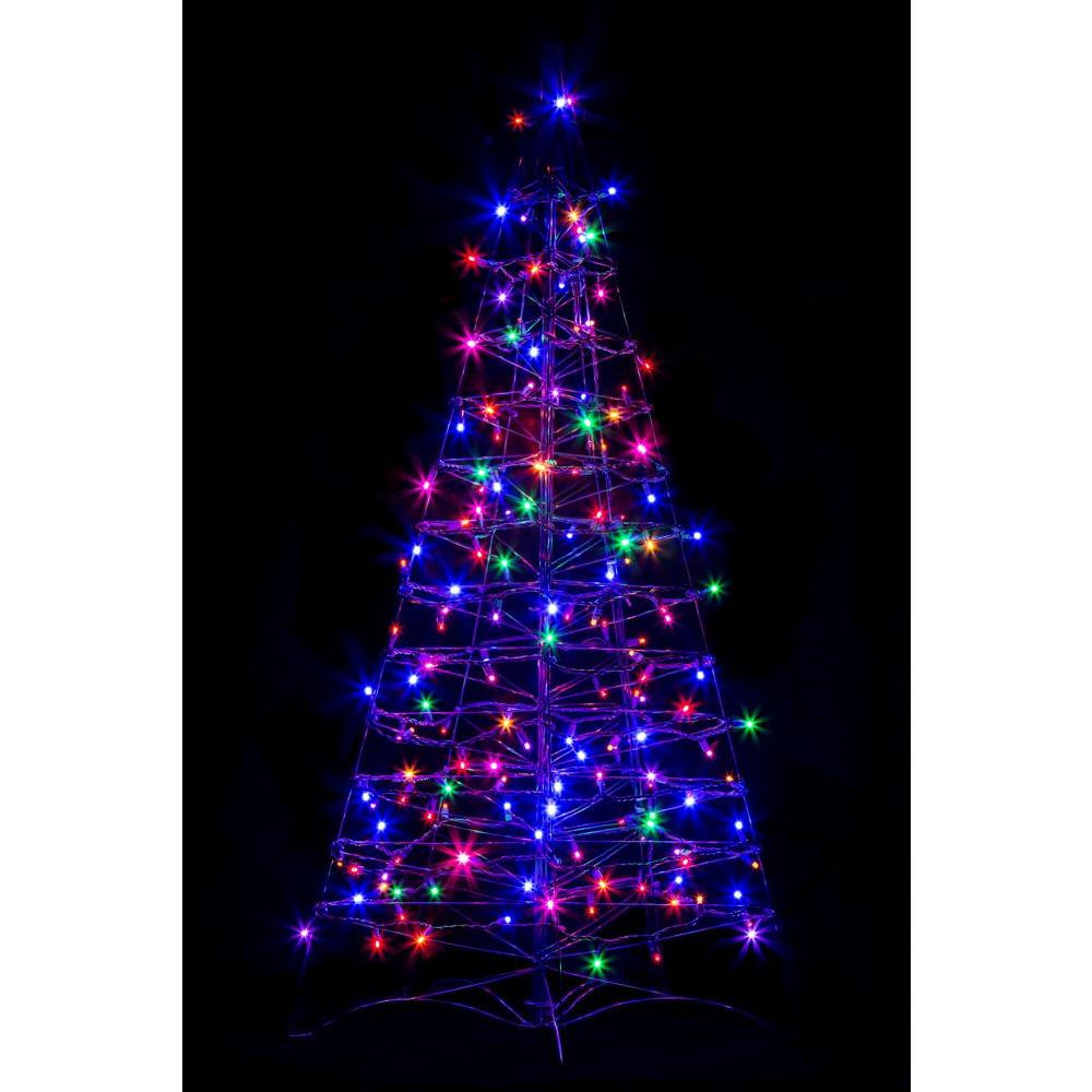 Outdoor Light Up Christmas Tree  Crab Pot Trees 4 ft Pre Lit LED Fold Flat Outdoor Indoor