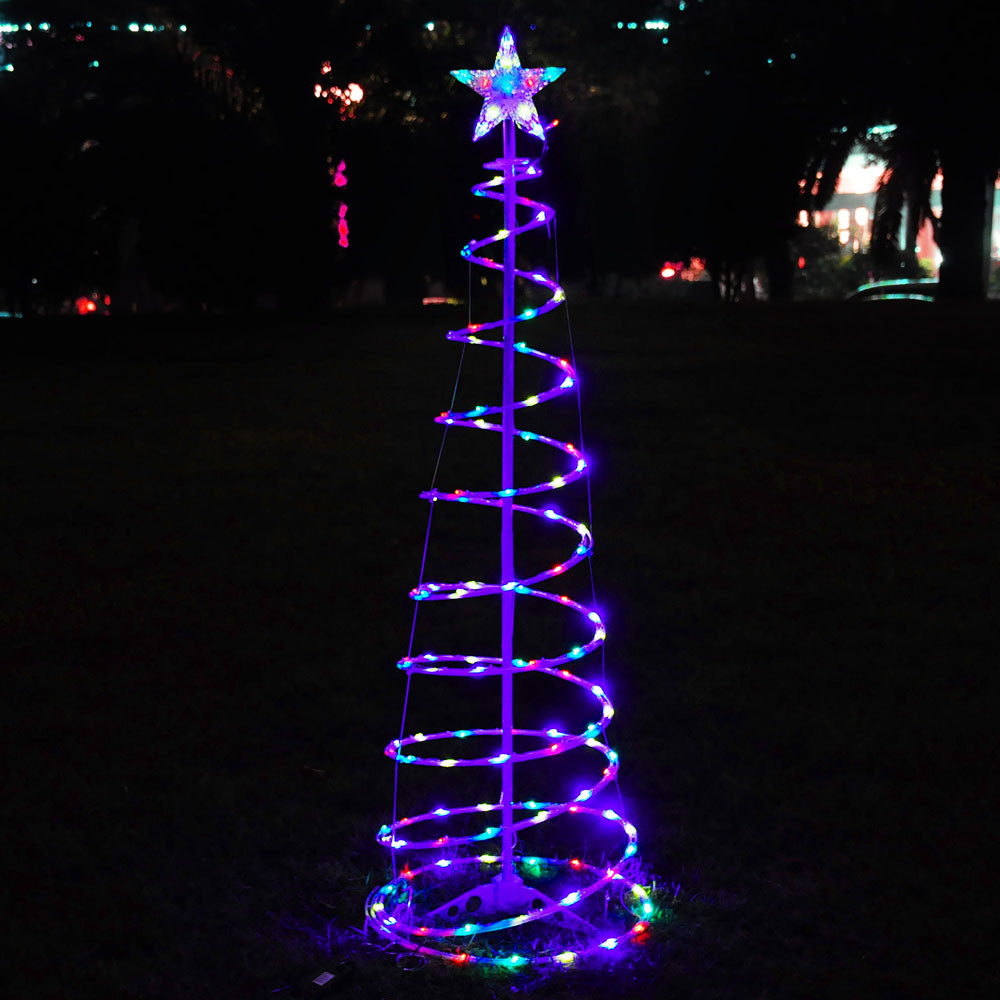 Outdoor Light Up Christmas Tree  6 Color Changing LED Spiral Tree Lights Outdoor Indoor