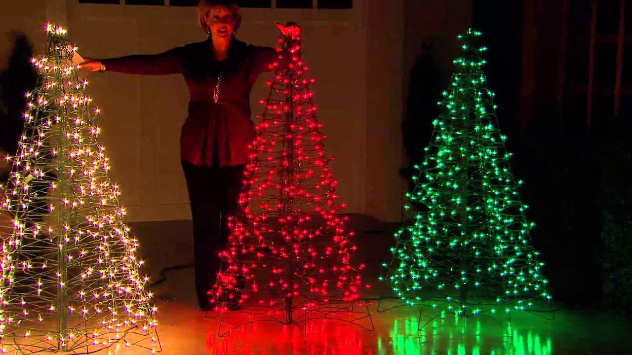 Outdoor Light Up Christmas Tree  Pre Lit 5 Fold Flat Outdoor Christmas Tree by Lori