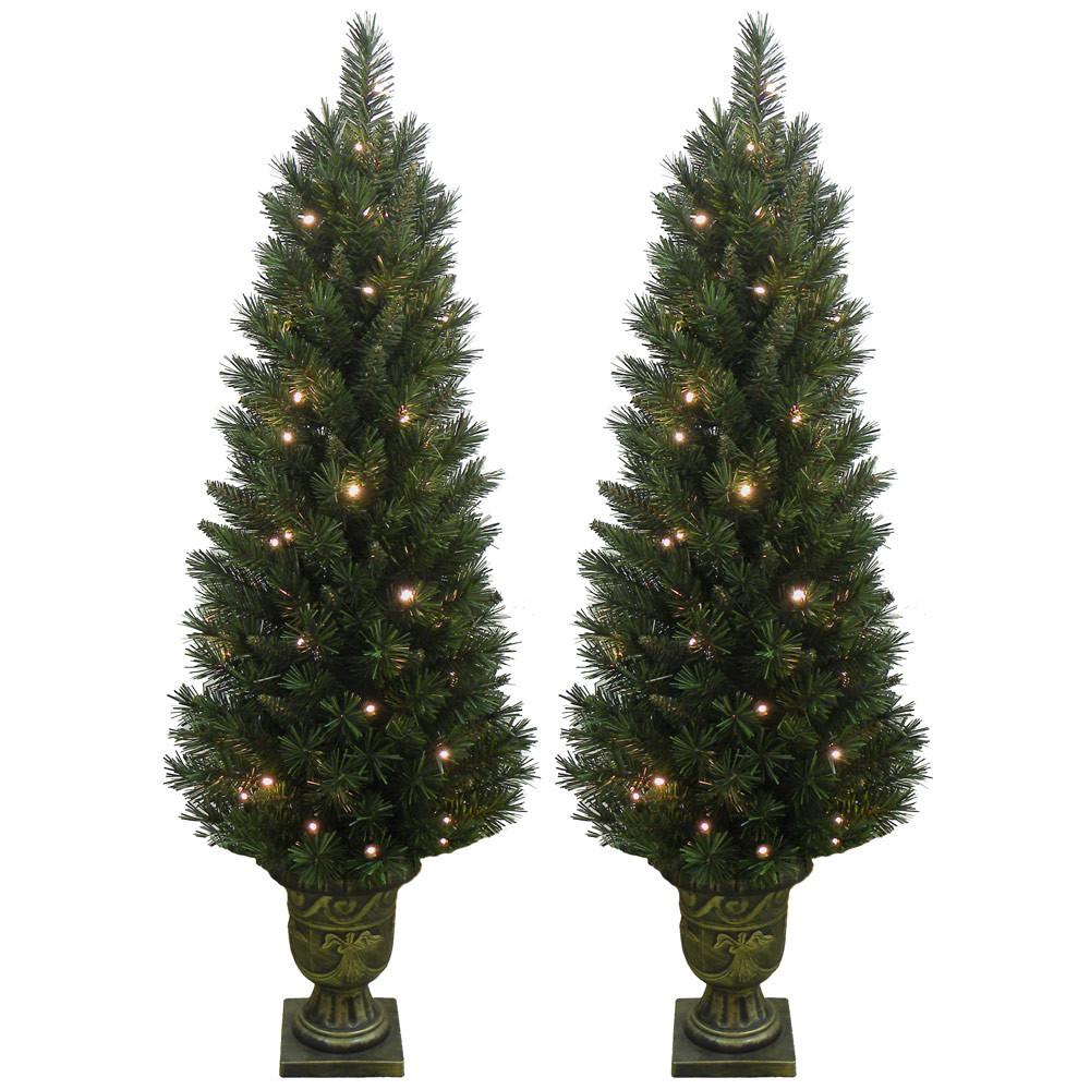 Outdoor Light Up Christmas Tree  Set of 2 Light Up Prelit Artificial Pine Indoor Outdoor