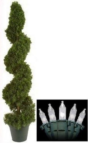 "Outdoor Spiral Christmas Trees  38"" TOPIARY ARTIFICIAL OUTDOOR TREE CEDAR SPIRAL CYPRESS"