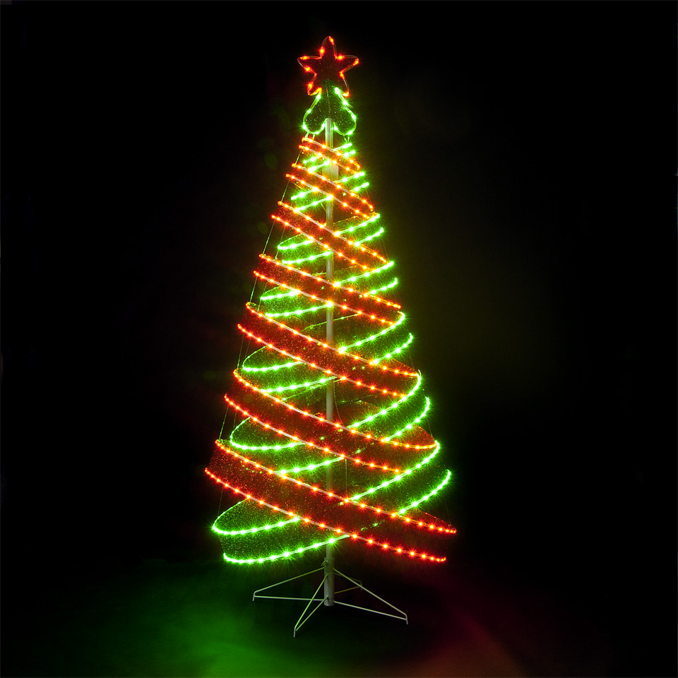 Outdoor Spiral Christmas Trees  120cm 4ft Outdoor & Indoor Red & Green 456 LED Spiral Tape