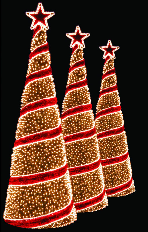Outdoor Spiral Christmas Trees  custom holiday decorations