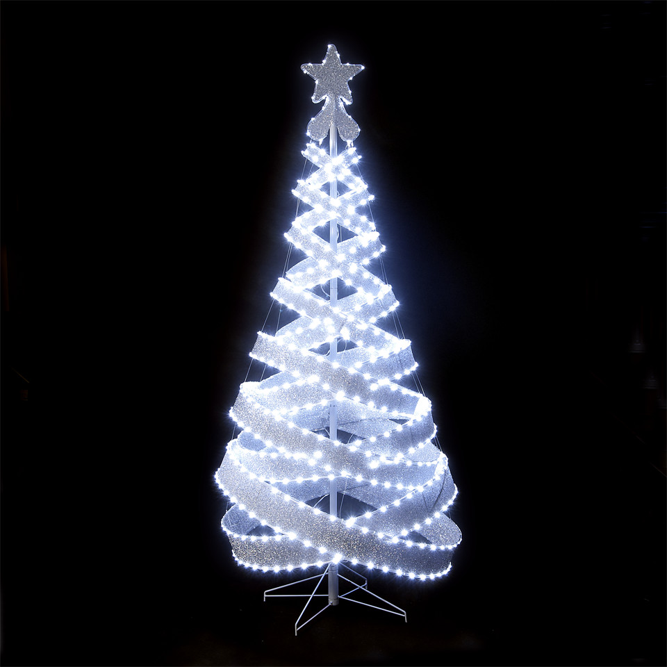 Outdoor Spiral Christmas Trees  120cm 4ft Outdoor & Indoor Silver 456 LED Spiral Tape Pop