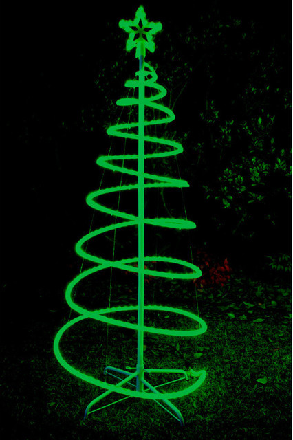 Outdoor Spiral Christmas Trees  120cm Green Solar LED Spiral Xmas Tree Rope Light