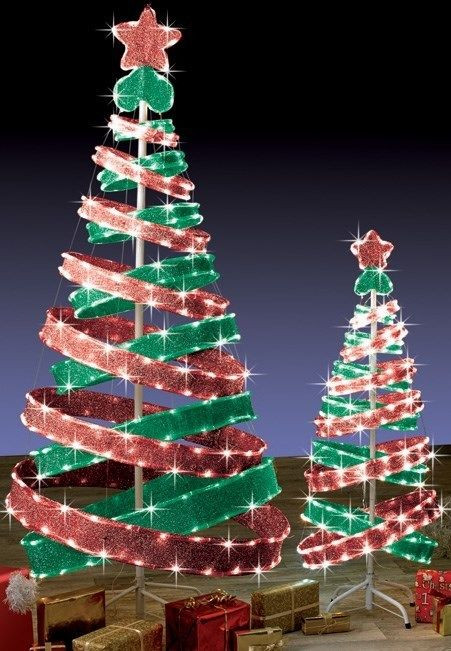 Outdoor Spiral Christmas Trees  6ft Outdoor Red & Green Pop Up Spiral Christmas Tree LED