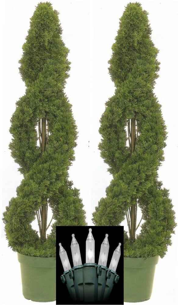Outdoor Spiral Christmas Trees  2 SPIRAL CEDAR OUTDOOR TOPIARY ARTIFICIAL TREE 4 CYPRESS