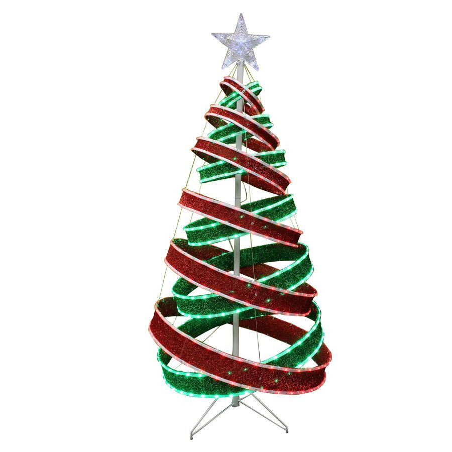 Outdoor Spiral Christmas Trees  HOLIDAY LIVING 5 Ft Spiral Ribbon LED Outdoor Christmas