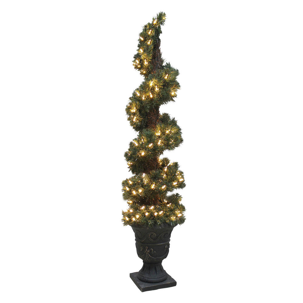 Outdoor Spiral Christmas Trees  Pre Lit Artificial Spiral Shaped Christmas Tree Indoor Outdoor