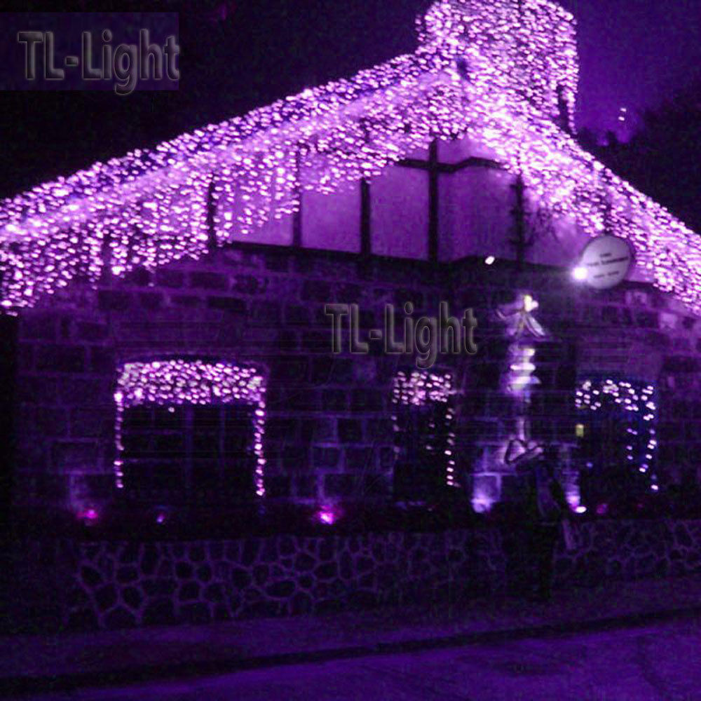 Patio Christmas Lights  10FT Holiday Living 100 PURPLE LED Bulb ICICLE Indoor