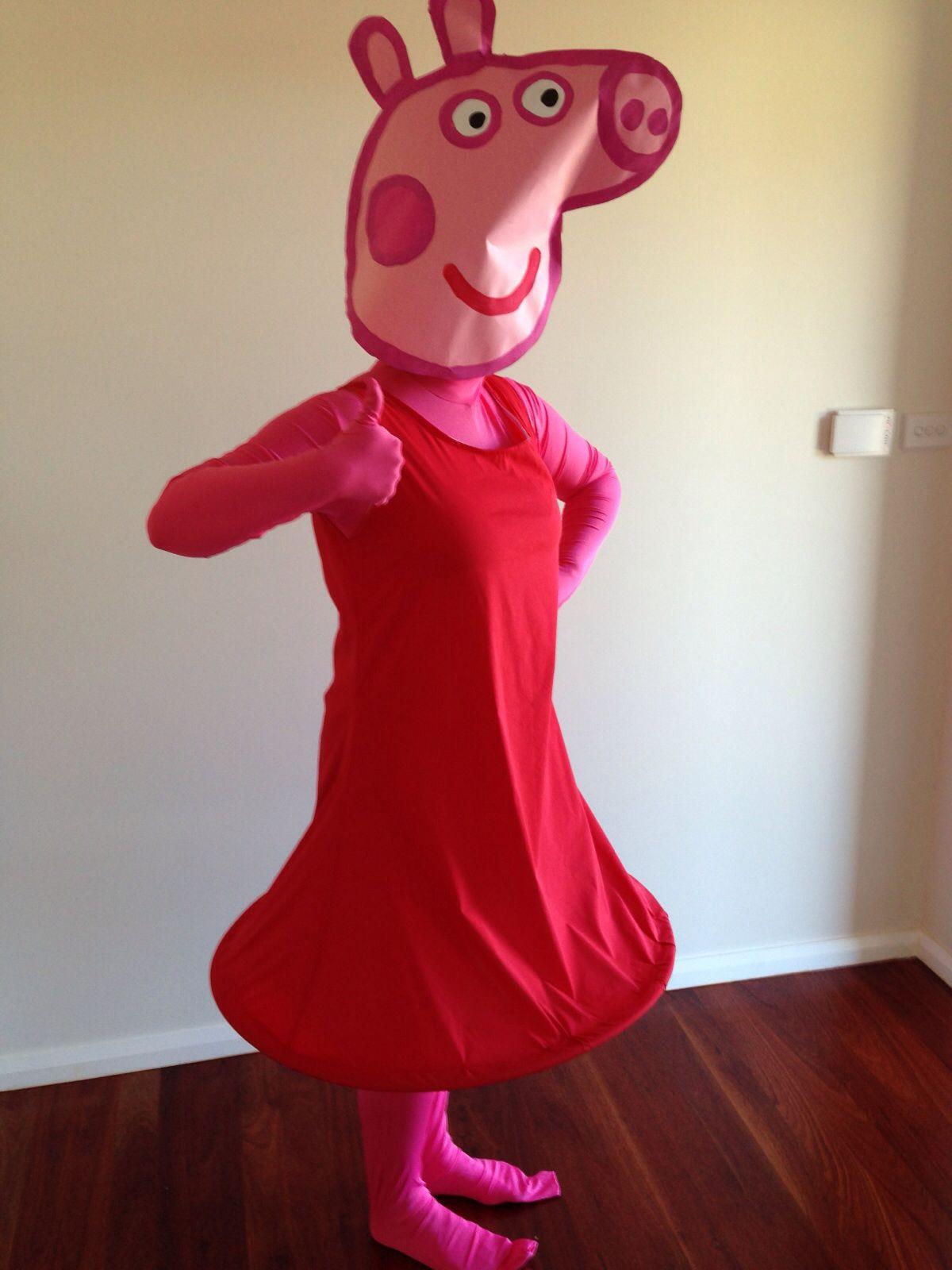 Peppa Pig Costume DIY  DIY Peppa Pig Costume Head Paint and Cardboard Dress Red