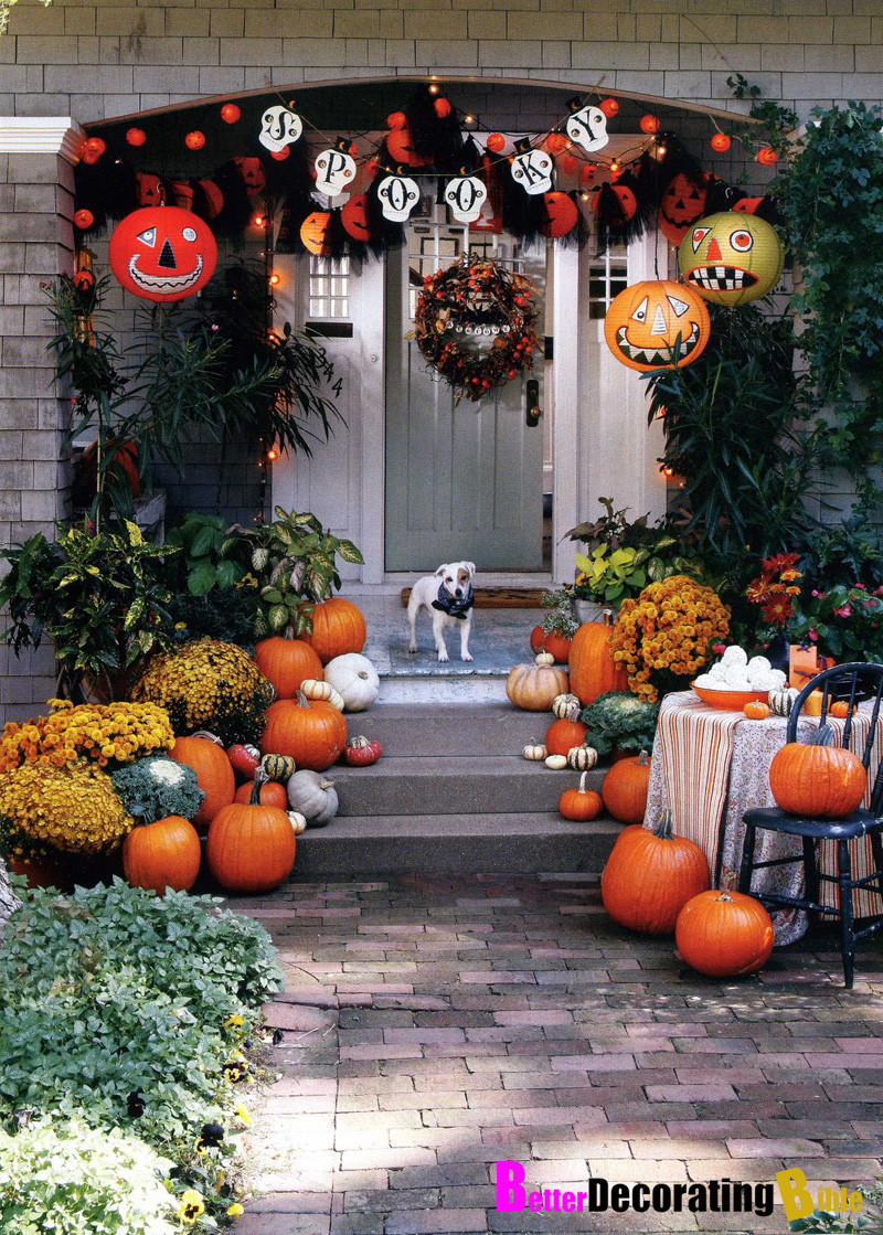 Porch Decorated For Halloween  Fall Front Porch Ideas Pumpkins