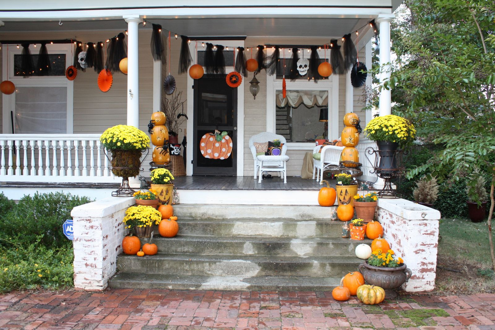 Porch Decorated For Halloween  Our Southern Nest Whimsical Halloween Decorations