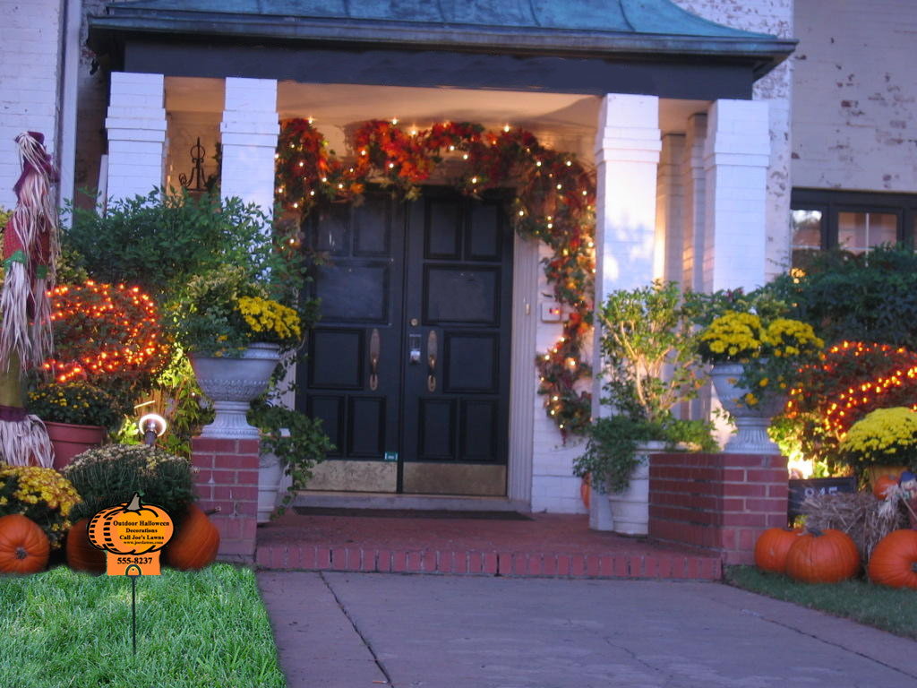 Porch Decorated For Halloween  Outdoor Halloween decorations and lawn care marketing idea