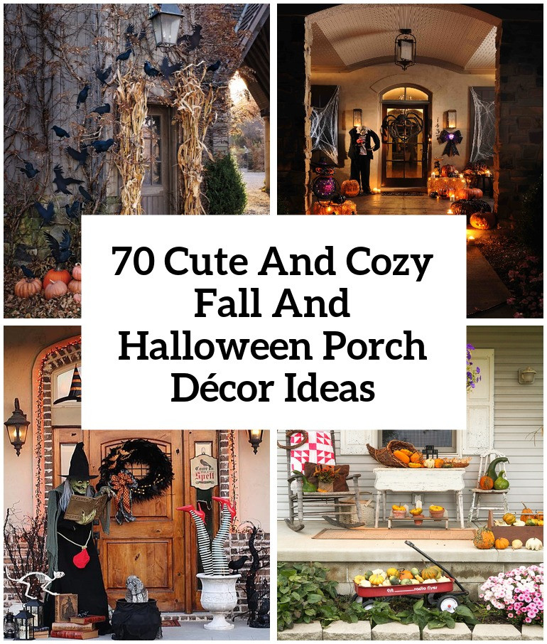 Porch Decorated For Halloween  70 Cute And Cozy Fall And Halloween Porch Décor Ideas