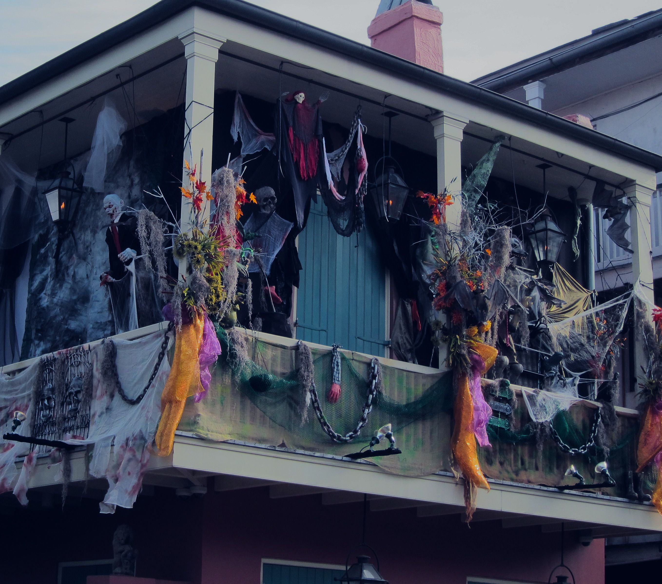Porch Decorated For Halloween  Halloween decorations New Orleans balcony French Quarter