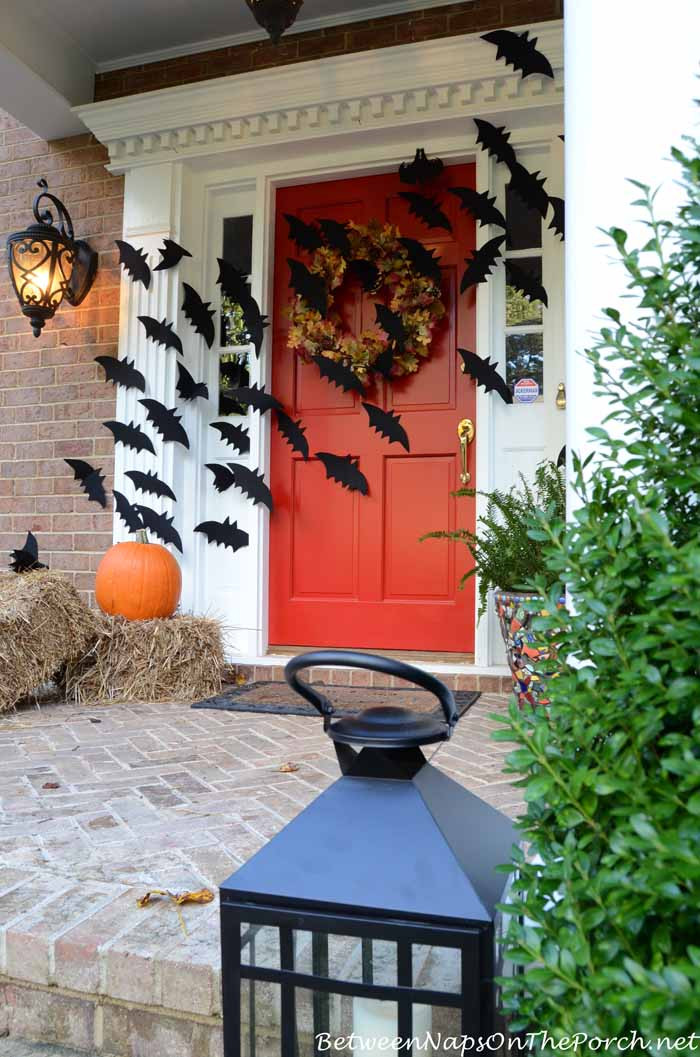 Porch Decorating For Halloween  Halloween Porch Decorations With Flying Bats
