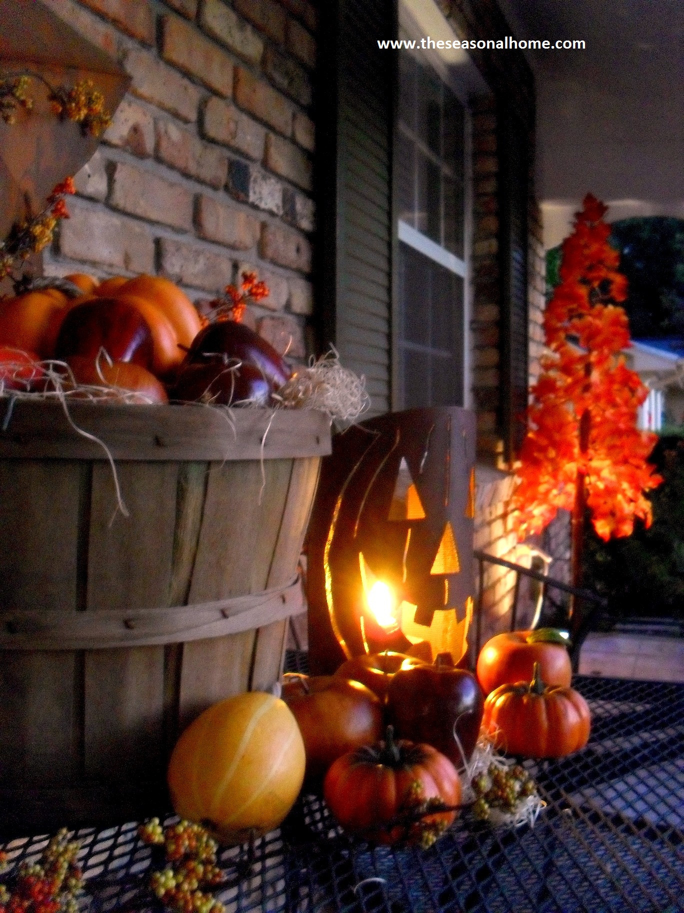 Porch Decorations For Halloween  Fall has Fell on the front porch The Seasonal Home