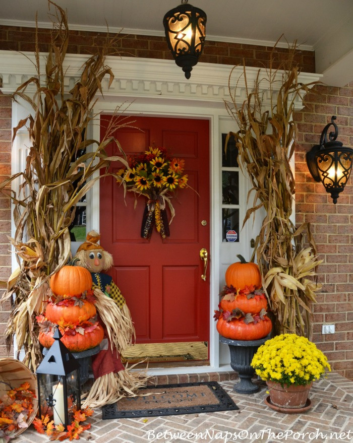Porch Decorations For Halloween  Pumpkin Topiaries for an Autumn Front Porch