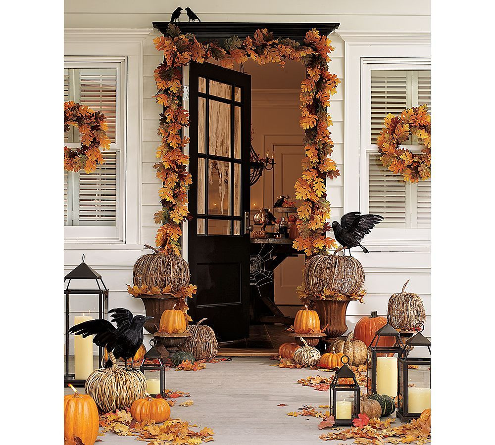 Porch Halloween Decor  Front door porch Halloween Autumn